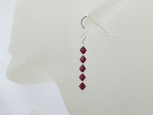 Ruby Red Swarovski Crystals & Sterling Silver Earrings
